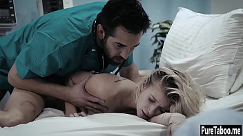 Helpless blonde used by a dirty doctor with huge thing