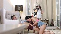 FirstBGG.com - Ariana Shaine & Sasha Sparrow - Two brunettes vs one lad