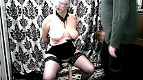 Wayward mature bitch is exposed to educational violence...  A whore wife kneeling with her hands tied behind her back sucks a man's cock ... Know, bitch, who should obey anyone here!