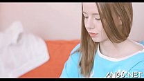 Magnificent redhead barely legal honey Angel gets her cuch torn apart