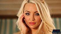 Perfect big tits blonde MILF model Lindsey Pelas strips