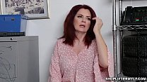 Redhead shoplifter MILF Andi James will do everything to get her freedom and offers her MILF pussy to a horny officer to set her free.