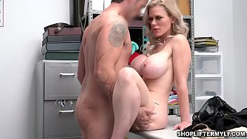 Big tits blonde MILF thief Casca Akashova begs for her freedom after being caught by a police officer.
