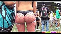 Big round ass fishnet bikini blonde raver girl spied