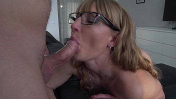 Milf cocksucker - Cum lover. Contactless blowjob in glasses. Close up 7 min