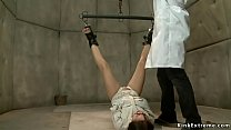 Babe in straitjacket gets suspended