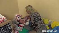 Blonde cougar pampers guy to fuck