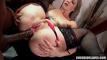 Black monster cock fucks white wife in the ass