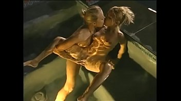 Horny lesbians enjoy finger each other's pussy in the pool
