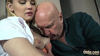 Blonde with beautiful legs spreads her pussy for old cock