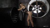 Hot Blonde Girl in Black Lingerie teasing for Nudex