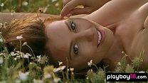 Stunning brunette Anetta Keys stripping on a meadow