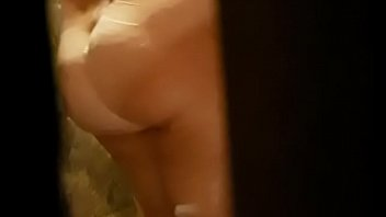 The hubby spying her chubby wife under the shower 2 min