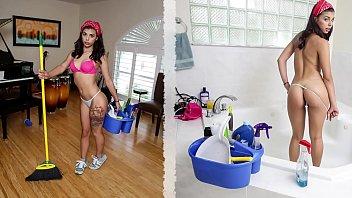 BANGBROS - Cute Brazilian Maid Gina Valentina Fucks Customer For Extra Money