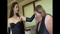Young babe loves to punish very fat mature lesbian with toys