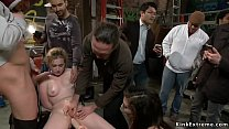 Blonde is groped and fucked in public