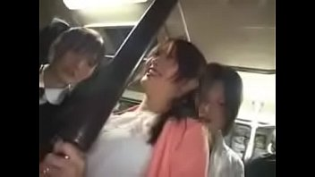 Japanese mother and daughter take a bus