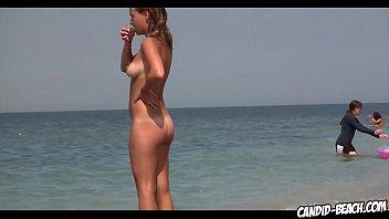 amazing round ass nudist blonde naked  beach voyeur spycam