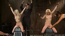 Blonde lesbians in live show tormenting