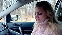 Blonde Deep Sucks Cock and Gets Cum in Mouth While No One Sees - In Car