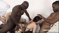 Interracial fuck loving Milfs Helena Moeller & Sofia Star do double anal