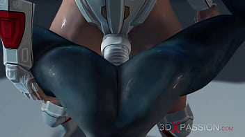 Hot sex on the exoplanet! An alien gets fucked by a spacewoman in spacesuit with strapon 3 min