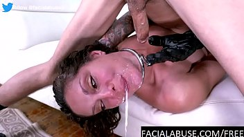 Hot MILF gags and slurps on two cocks