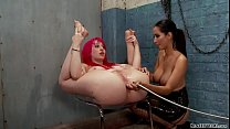 Busty lesbian anal fucked with bottle