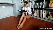 Horny student masturbate pussy like crazy in home library with orgasms - PassionBunny