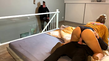 housewife cheating with neighbor - husband watches and gives her a second cum fill