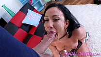 SWALLOWED Jennifer White deepthroats a huge dick