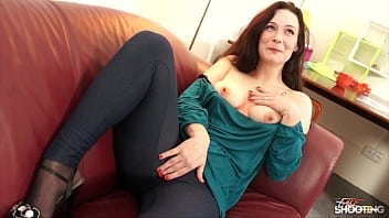 Shy brunette surprise with sexy lingerie and took hard dick bravely letting him cum on tits