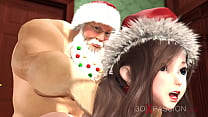 Wish for Merry Christmas. Shy nerdy girl dreams of being fucked by Santa Claus 5 min