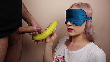 Petite step sister got blindfolded in fruits game 6 min
