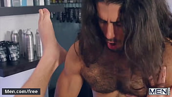 Long Haired Stud (Diego Sans) Gives A Proper Grooming With A Sensational Blowjob To Sexy (Calhoun Sawyer) - Men