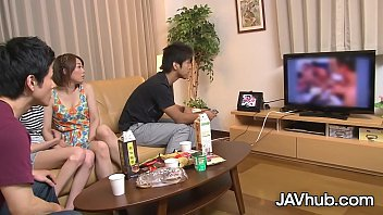 JAVHUB Japanese bombshell has her hairy pussy stuffed