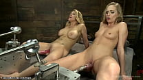 Lesbians fuck and cum on machines