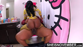 4k Msnovember Stepdad Made Her Ride His Dick On Her Toilet, Degrading Her Big Ebony Ass Spread and Slapped. Cute Stepdaughter Taking Hardcore Taboo Sex on Sheisnovember