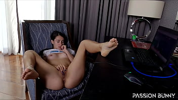 Crazy wet hottie working online and enjoy her friend's porn with solo sensual fingering in her pussy - PassionBunny