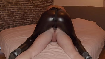 Girl in Leather Leggings Fucking Guy With Strapon