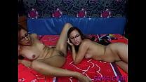 Amateur lesbian pussy licking on webcam