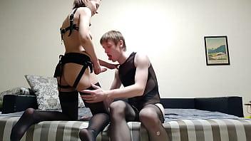 Femdom strapon fuck femboy russian submissive slut rimjob bdsm fetish