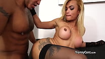 Horny guy nailed slutty shemale latina