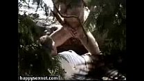 Caught horny couple having fun in wood