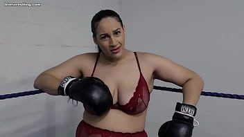 Curvy BBW Boxing in Lingerie