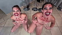 Two stupid whores doing stupid things | self humiliation and humiliating each other