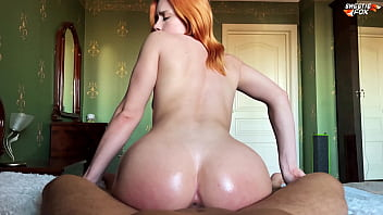 Girl with Oiled Big Ass Deepthroat, Riding On Dick and Cum Swallow - Sweetiefox 9 min
