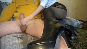 beauty in leather skirt does footjob with ankle boots - he is rips pantyhose and cums on her boots, projectfundiary
