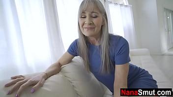 Skinny granny bangs her step grandson