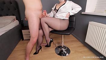 Teacher femdom handjob on her Legs in Pantyhose High Heels